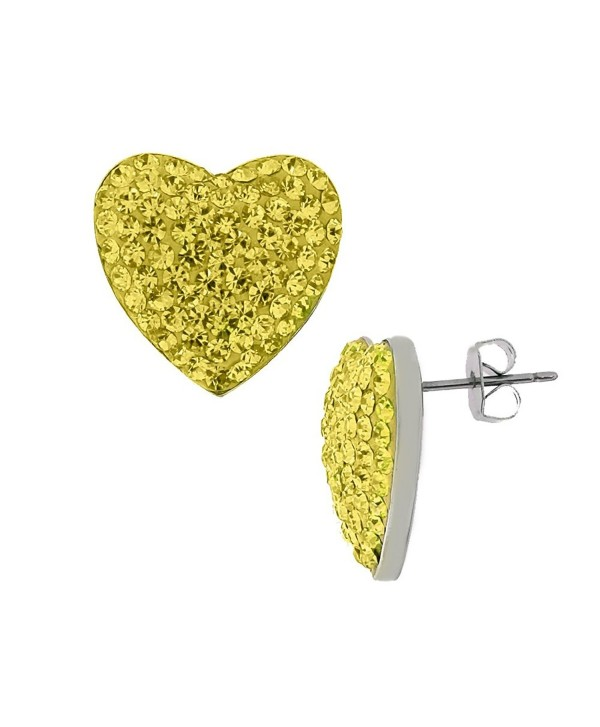 Yellow Canary 3.00 Carat Total Weight Crystal 925 Silver Stud Earrings Heart Shape Cubic Zirconia Stones - CA11LIZDQJF