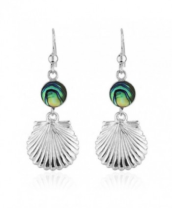 925 Sterling Silver and Shell Dangle Earrings - Abalone - C311V0DYLR1