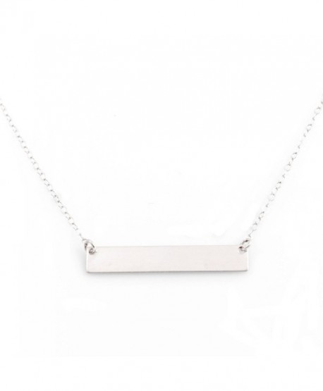 Bar Necklace with Engravable Pendant- Sterling Silver- by Wild Moonstone - CP186E0RHLN