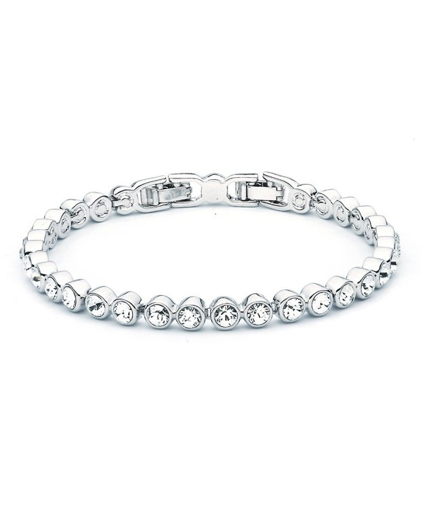MYJS Tennis Rhodium Plated Classic Bracelet with Clear Swarovski Crystals - 17+2cm Extender - C21230N88XB