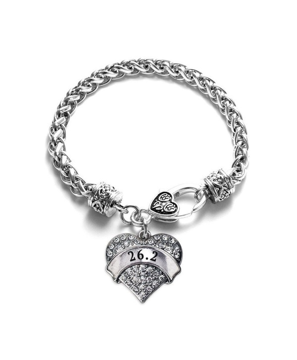 26.2 Runner 1 Carat Classic Silver Plated Heart Clear Crystal Charm Bracelet Jewelry - CW11VDKYYKZ