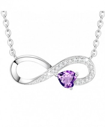 Infinity February Birthstone Anniversary Girlfriend - February Birthstone Infinity Love Heart Necklace - C5189A92N4M