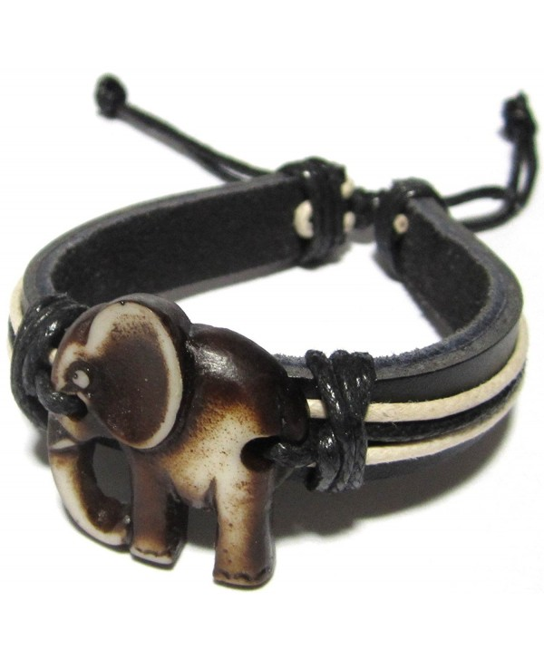 Elephant Bracelet Leather Indian Good Luck Black White Ce11hzdr4q5