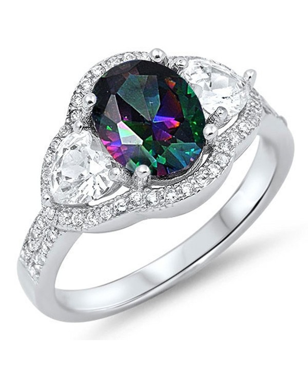 CHOOSE YOUR COLOR Sterling Silver Wedding Halo Ring - Mystic Simulated Topaz - CB187Z4IH9Y
