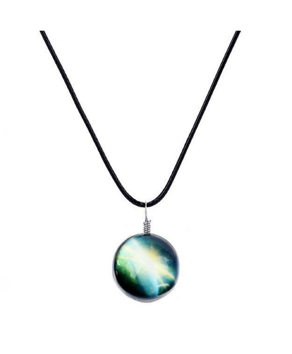 Galaxy & Cosmic Green Glass Pendant Necklace- 16'' Leather Rope- Great Gift for Women - C3184W332K7