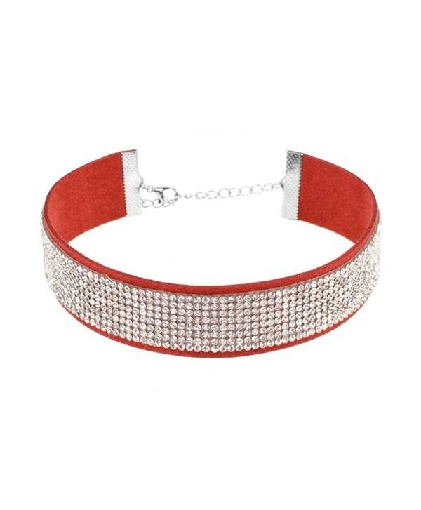 Sanwood Adjustable Rhinestone Velvet Choker Collar Necklace Punk Jewelry - Red + White - C417YENWQDD