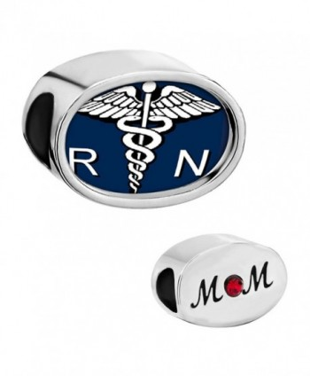 CharmSStory Nurse Nursing RN Registered Caduceus Charms Heart Photo Beads - CS11X2FCKVT