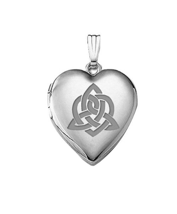 "Sterling Silver "" Sisters Love "" Celtic Heart Locket 3/4 Inch X 3/4 Inch - C611EF63S3D"