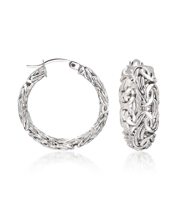 Ross-Simons .925 Sterling Silver Byzantine Hoop Earrings- 1 inch- Includes Presentation Box - CW17YTGN2TQ
