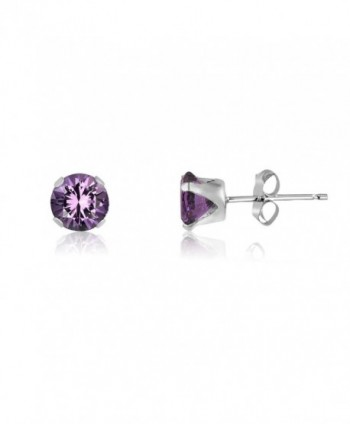 Round 4mm Genuine Amethyst Stud Earrings (0.4 cttw) Sterling Silver- 14k Yellow or Rose Goldplate - CJ11IWLBLC7