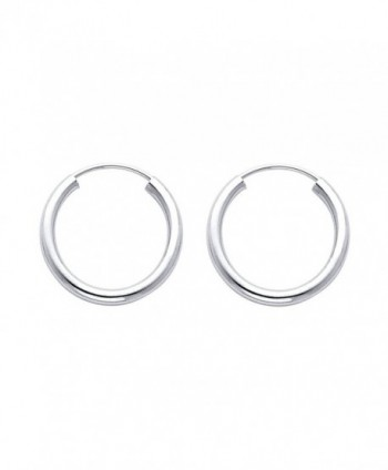 14k White Gold 2mm Thickness Endless Hoop Earrings (18 x 18 mm) - C2116GOX0VH