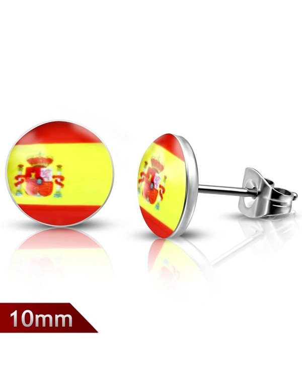 10mm | Stainless Steel Flag Of Spain Circle Stud Earrings (pair) - LEB291 - CD12O7BPNH0