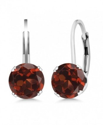 3.00 Ct Round Red Garnet Gemstone Birthstone 925 Sterling Silver 4-prong Dangle Earrings 7MM - CW119OEQW7F
