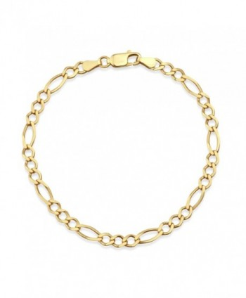 "18k Gold Over Sterling Silver Figaro Chain Bracelet 7.5""- Made in Italy - CJ182ZSLRZR"