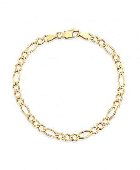 "18k Gold Over Sterling Silver Figaro Chain Bracelet 7.5""- Made in Italy - CJ182ZSLRZR"