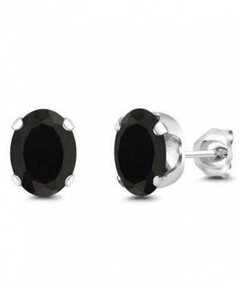 3.30 Ct Oval Black Onyx Gemstone 4-prong Stud Earrings 8x6mm - CX117HTVXRX