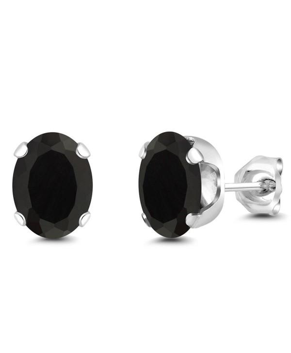 3.30 Ct Oval Black Onyx Gemstone 4-prong Stud Earrings 8x6mm - CX117HTVXRX