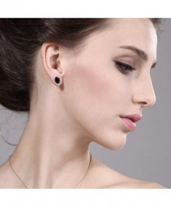 Black Gemstone 4 prong Earrings 8x6mm