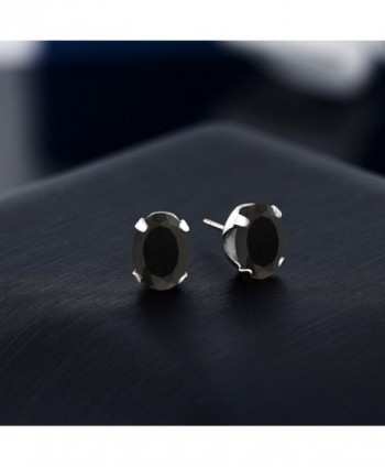 Black Gemstone 4 prong Earrings 8x6mm in Women's Stud Earrings