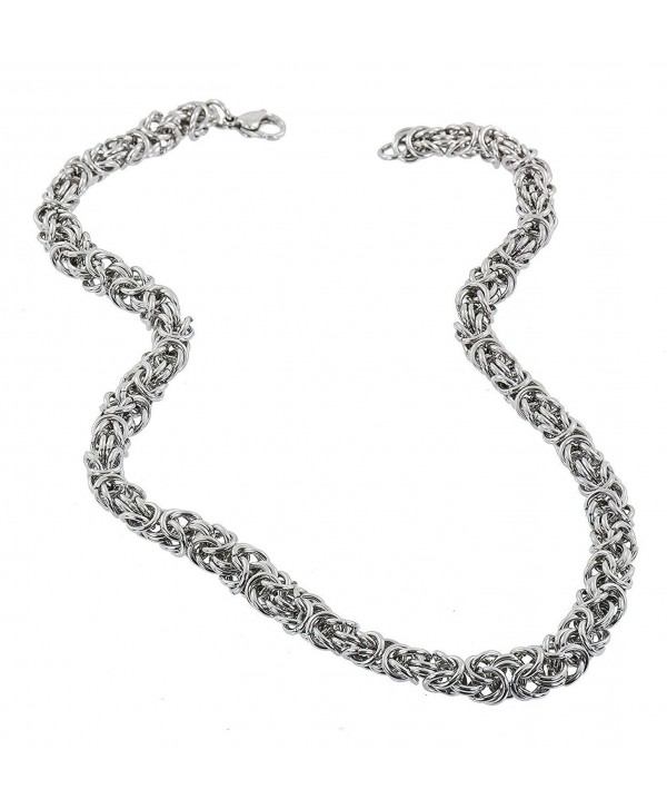 "Stainless Steel 7MM Byzantine Necklace - 18"" - C011T31G4OF"