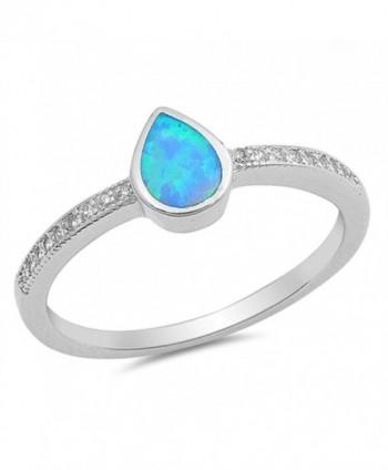CHOOSE YOUR COLOR Sterling Silver Teardrop Ring - Blue Simulated Opal - CJ12JBXGELH