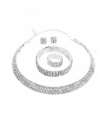 Santfe Crystal Rhinestone Choker Necklace Earrings Bracelet Ring Jewelry Set - White - C512MWABGF7