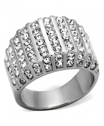 2.75 Ct Round Cut Crystal Stainless Steel Wide Band Fashion Ring Women's Size 5-10 - C611QEIOFL9