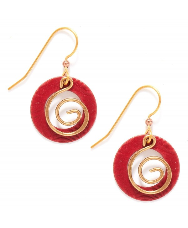 Silver Forest of Vermont Dangle Red and Gold Round Earrings - CI118XT985P