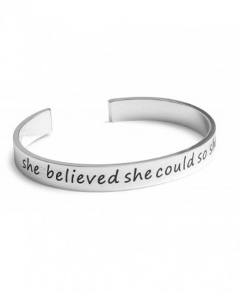 Inspirational Silver Cuff Bracelet Motivational - CS12E4SDJV7