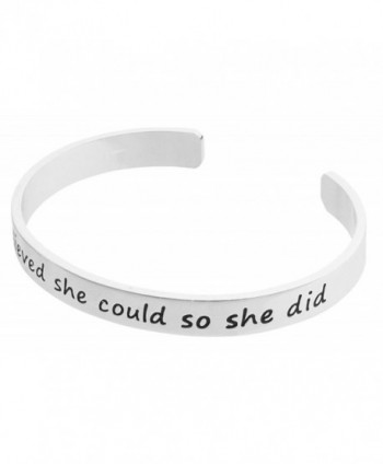 Inspirational Silver Cuff Bracelet Motivational in Women's Charms & Charm Bracelets