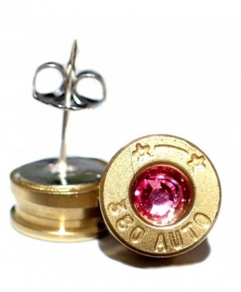 Small 380 caliber Gold Bullet shell Earrings Stainless steel post w Pink crystal - CX11UDR5LID