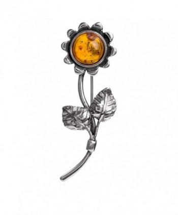 Amber 925 Sterling Silver Sunflower Designer Pin Brooch - CG188U8QNR6
