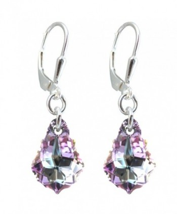 Vitrail Light Colored Tear-drop Earrings Made with Swarovski Crystal Elements Silver Lever-back - CS11TYYC2U1