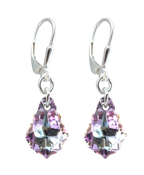 Vitrail Light Colored Tear Drop Earrings Made With Swarovski Crystal Elements Silver Lever Back Cs11tyyc2u1