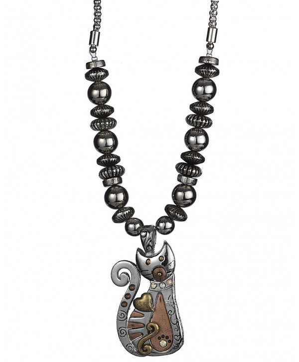 Beaded Kitty Cat Popcorn Chain Necklace with Rhinestones & Matching Earrings by Jewelry Nexus - Bronzetone - CF11Q5KRKSL