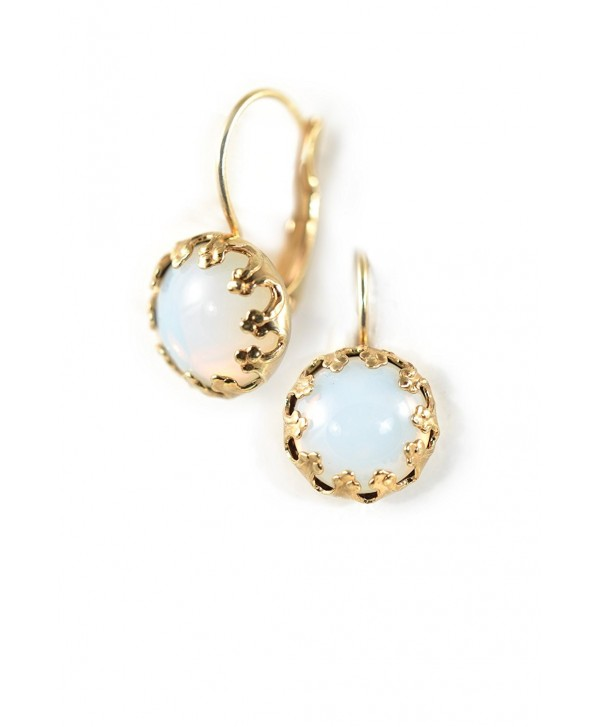 Clara Beau Charming WhiteOpal Round Cat Eye GoldTone LeverBack Earrings EW20 GoldTone - WhiteOpal - C817YIXNU0R