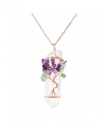Gemstone Wrapped Natural Healing Necklace - Amethyst+Green Aventurine - CP184RNW9L5