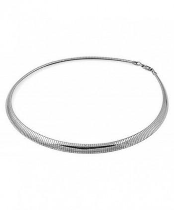 "316l Stainless Steel 6 mm Omega Silver Flat Dome Chain Necklace Size 18""in (Also Available 16"" Length) - C7118QBUHIR"