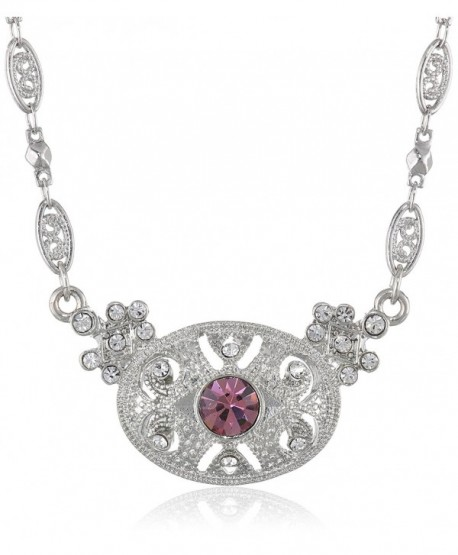 "Downton Abbey ""Boxed"" Silver-Tone Light Amethyst Crystal Pendant Necklace- 16"" - CB11I5Z4PXR"