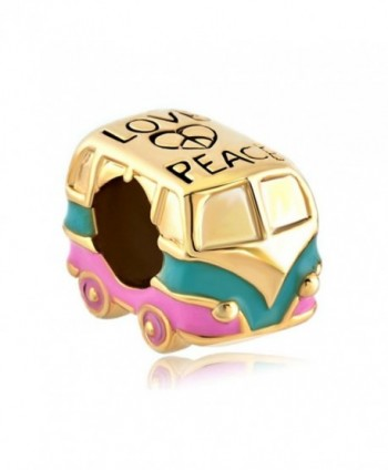 LovelyJewelry Heart Love Peace Symbol Golden Green Pink Antique Bus Car Charms Beads For Bracelets - C411TC1KG0T