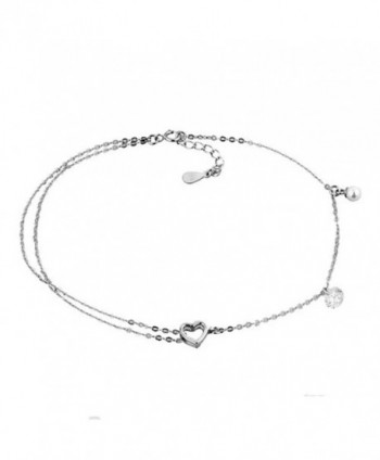 Corykeyes Sterling Silver Hearts Box Chain Anklet Sexy Beach Ankle Bracelet - CT1853C8TR9