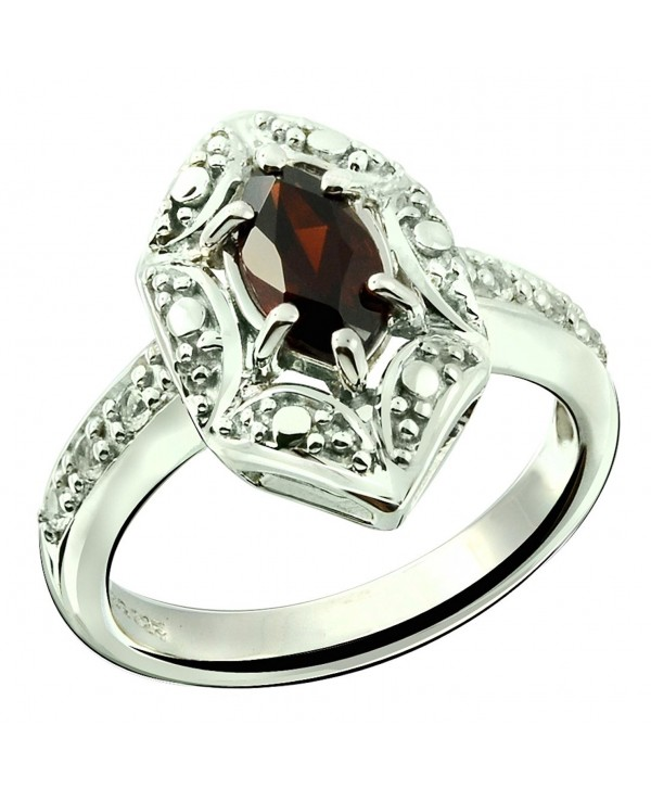 Sterling Silver 925 Ring GENUINE GEMSTONE Marquise Shape 0.70 Carat with Rhodium-Plated Finish - CM18CG7W29H