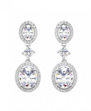EVER FAITH Sterling Luxurious Earrings - 925 Sterling Silver - CI12DLU31UD