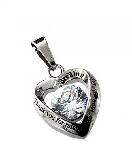 R.H. Jewelry Mother in Law Heart Stainless Steel CZ Pendant Necklace - CU11J2802JR
