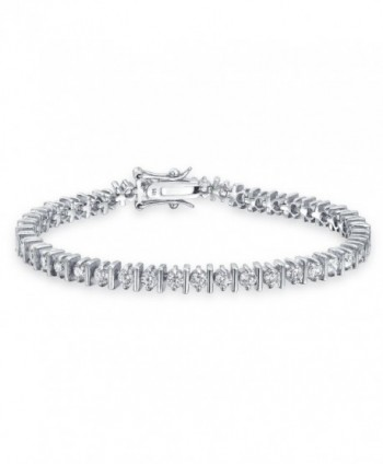 Bling Jewelry Classic Separated CZ Tennis Bracelet 925 Sterling Silver 7in - CQ113AJ337L