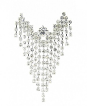 Large Chandelier Floating Angel Rhinestone Brooch Pin with Clear Crystals - CH11HTB5OIN