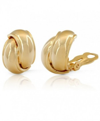 JanKuo Jewelry Gold Plated Shining Polished Finish Knot Clip On Earrings - CW118XVDORB