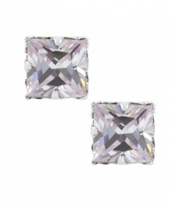 Lavender Square Cut Cubic Zirconia CZ Sterling Silver Magnetic Stud Earrings - CH1170S2IJD