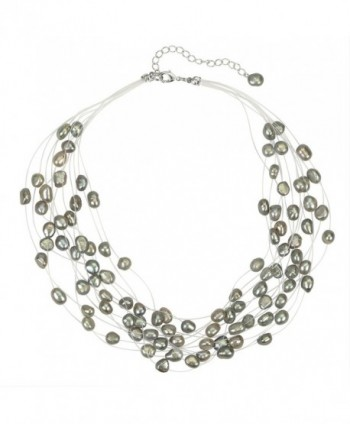 Regalia Multi Strand Baroque Gray Freshwater Cultured Pearl Floating Necklace - CE183Q6WOSZ