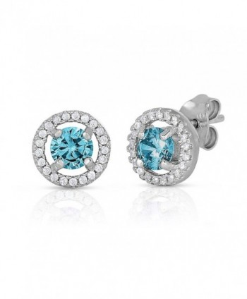 Halo Round Stud Earrings in .925 Sterling Silver with Simulated Birthstone and CZ - CJ1295T8CZX